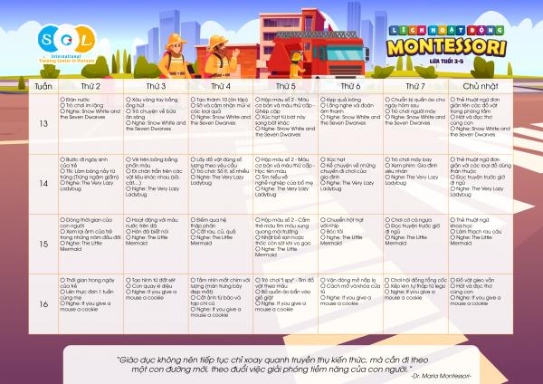 Lịch Montessori 3-5